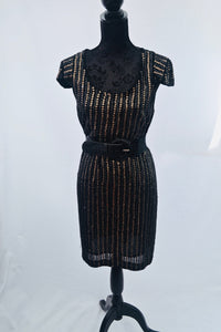 1980s  black dress with gold sequins in 1920s style, LBD, NYE dress