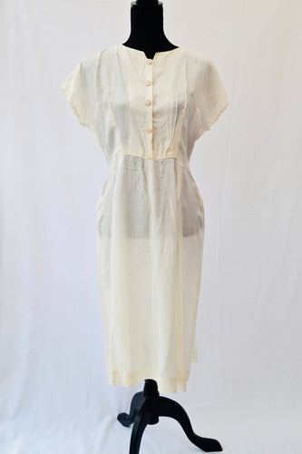 1940s Vintage day dress | ivory day dress  | Re-enactment dress | Est UK size 10/12