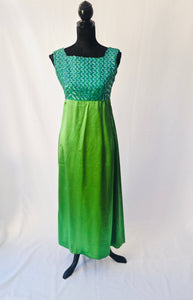 1960s Green sequinned dress | Long cocktail dress | Sleeveless dress | Est UK size 10/12