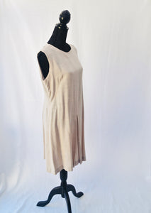 1970s Beige dress | Midi length dress | Sleeveless dress | Est UK size 14