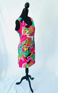 1980s Bold print dress | Quirky dress | Pink and green dress | Est UK size 12