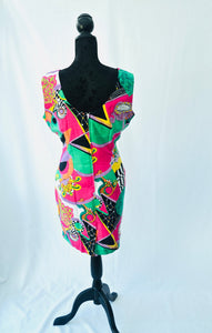 1980s scoop neck bright patterned pencil dress with fitted waist | Est UK size 12