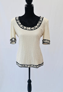 1980s beaded short sleeved ladies top in black and white, monochrome Tee shirt, Est UK size 14