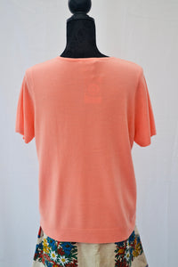 1980s Peach  jumper | Short sleeved jumper | Sweater top | Est UK size 14