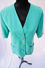 1980s Green jacket | Short sleeve blazer | Jacket with pockets | Est UK size 12
