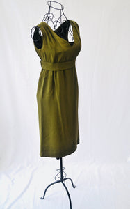 1960s Khaki green dress | Cocktail dress | Dress with belt | Est UK size 8/10
