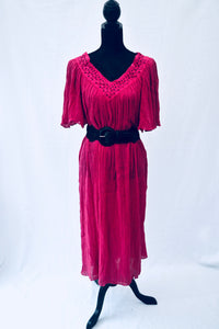 1970s Oversized pink Kaftan dress with short sleeves, Est UK size 10, 12, 14, 16, 18