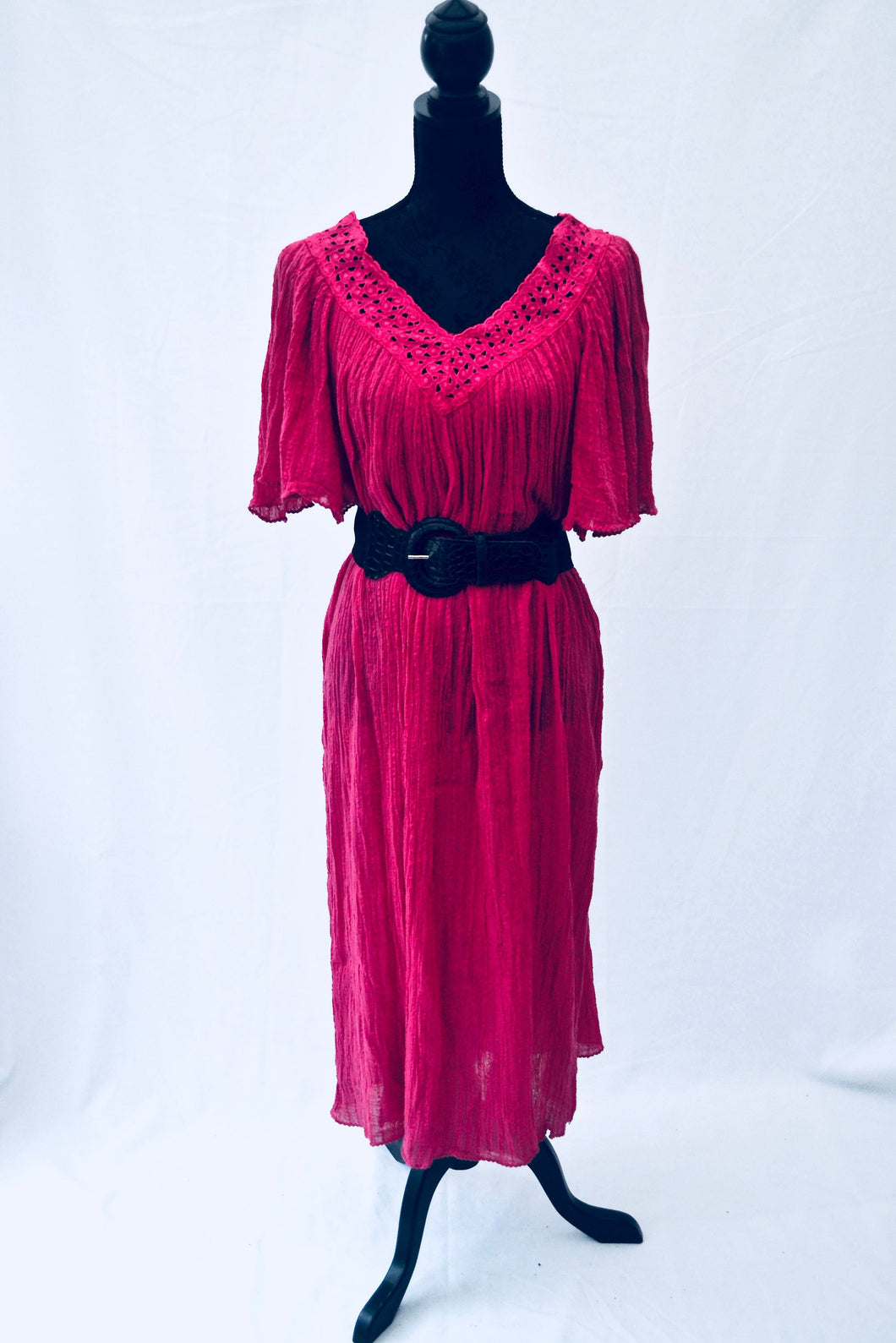 1970s Pink Kaftan dress | Short sleeved dress | Oversized dress | Est UK size 10/12/14/16/18