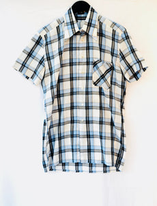 1980S Blue and White checked short sleeve shirt, Est UK size M