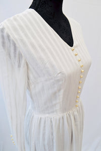 1960s long white striped maxi dress with pearl buttons, Est UK size 8