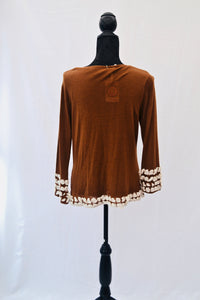 1950s Brown cardigan / ruffle style / Ladies sweater, Est UK size 10/12