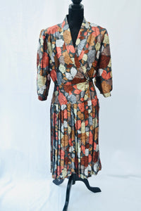 1980s floral wrap style dress with pleated skirt by Berkertex, Est UK size 12