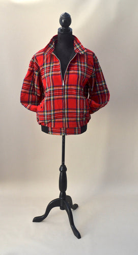 1970s Red tartan Harrington jacket, UK size XS, S, M