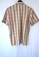1980s Checked short sleeve shirt in browns, Blue, Yellow and White, Est UK size XL