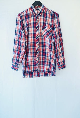 1980s Red, white and Blue , mens Long sleeve checked shirt, Est size L