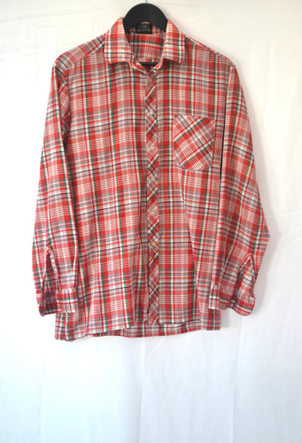 1980s long sleeved red, white and green checked shirt, Est UK size XL