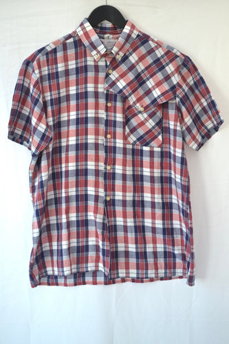 1980s red and blue checked shirt - shoulder detail - XL
