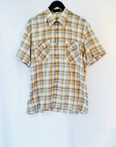 1980s Brown, White and Blue checked short sleeved shirt. UK Est size L