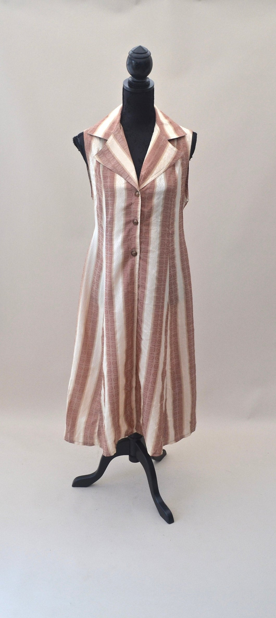 1970s Long dress | waist coat dress | Brown and white dress | Striped dress | Est UK size 8/10