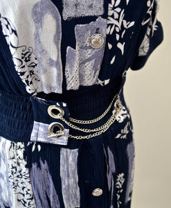 1980s Navy and white midi dress with metal chain and toggle waist detail, Est UK size 10