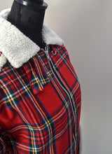 1970s Tartan Harrington style jacket | Faux fur plaid jacket | Red coat | UK XS, S, M