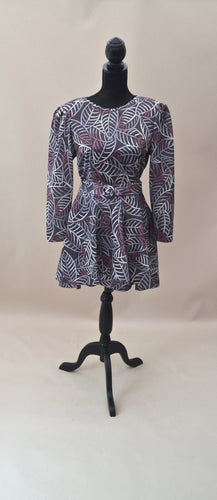 1980s Short leaf pattern dress in black and silver with original belt, Est UK size 10
