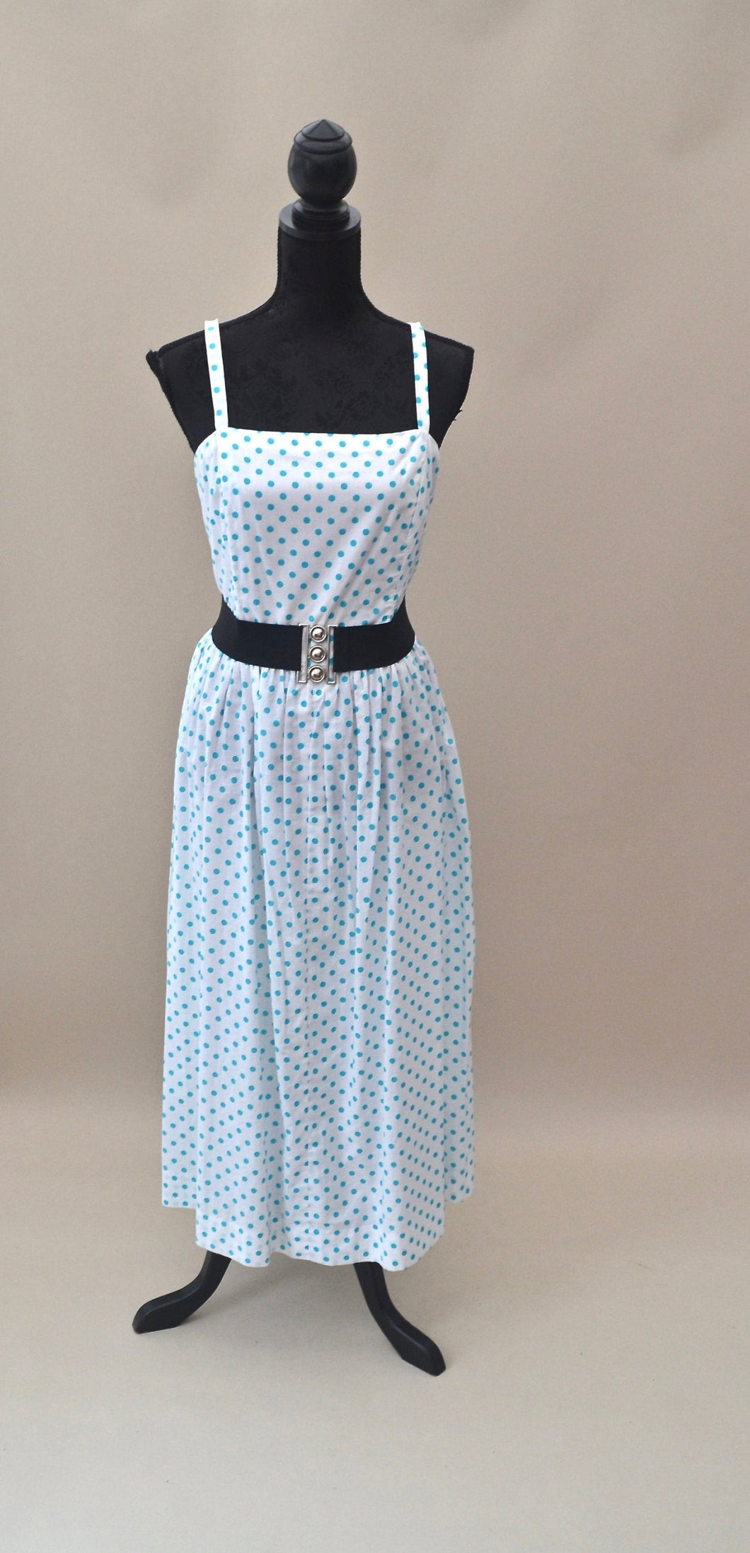 1990s Polka dot dress and jacket |  50s Rockabilly style dress | Blue and white dress | Est UK size 12/14