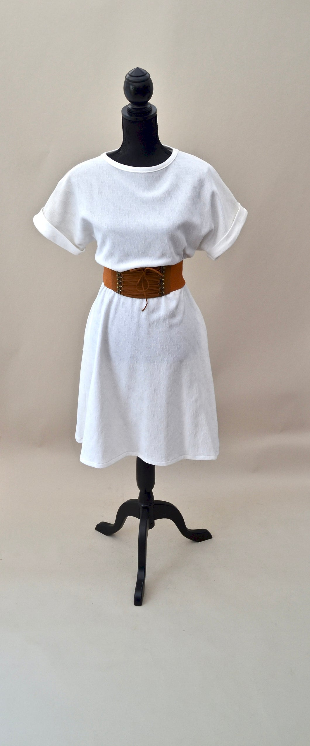 1980s White Aline short sleeve dress | Casual day dress with pockets |  Est UK size 12/14
