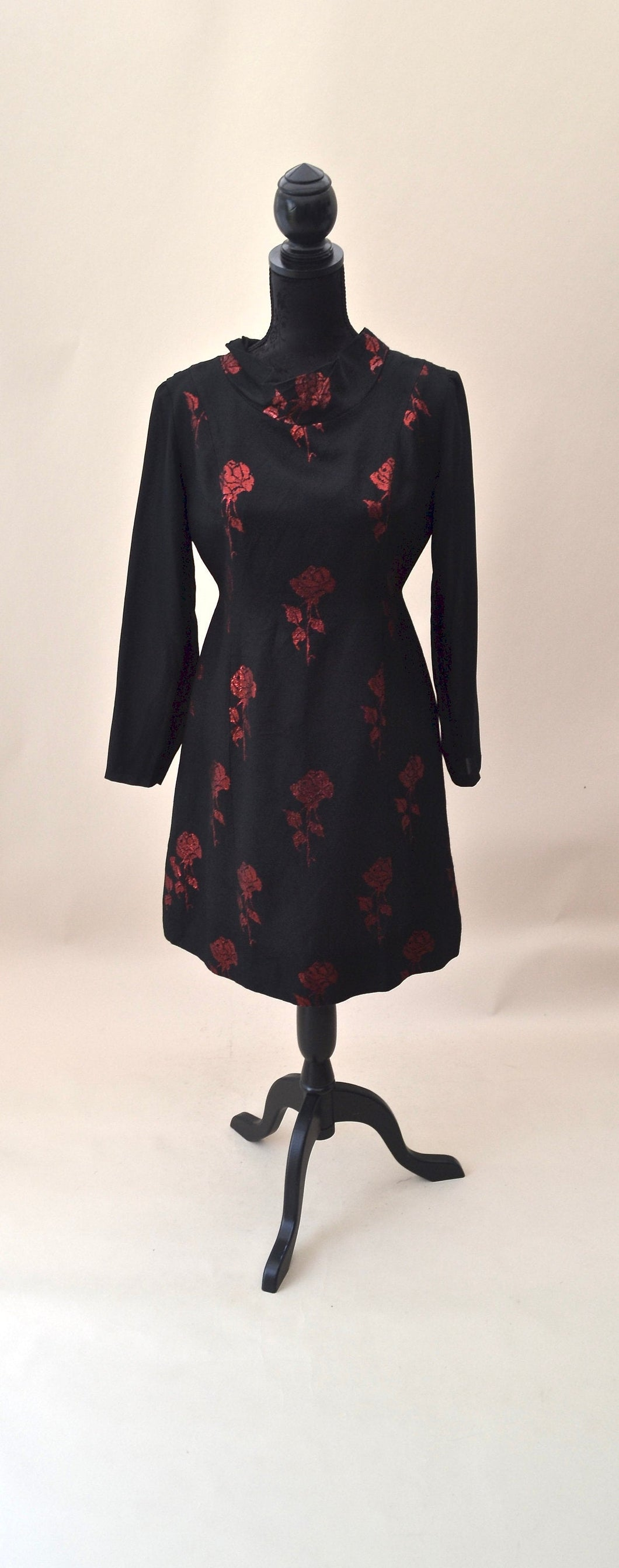 1960s Black and Red Cocktail dress | Long sleeve floral evening dress | Est UK size 10/12
