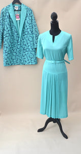 1960s Dress and jacket set | Ladies suit |  Green and blue suit | Est UK size 16/18