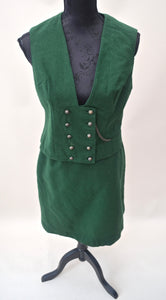 1980s ladies green suit | 1940s style set | Ladies waistcoat and skirt | Est UK size 8