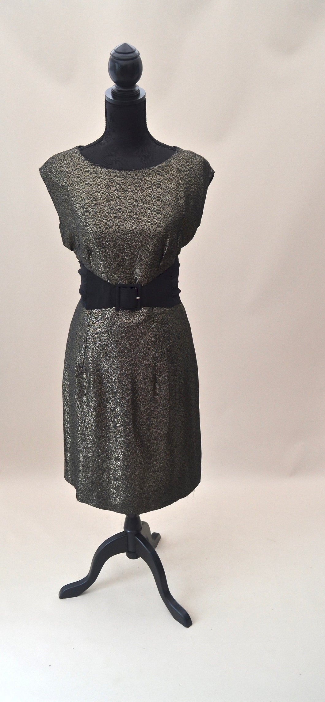 1960s Black and gold cocktail shift dress, Est UK size 12/14