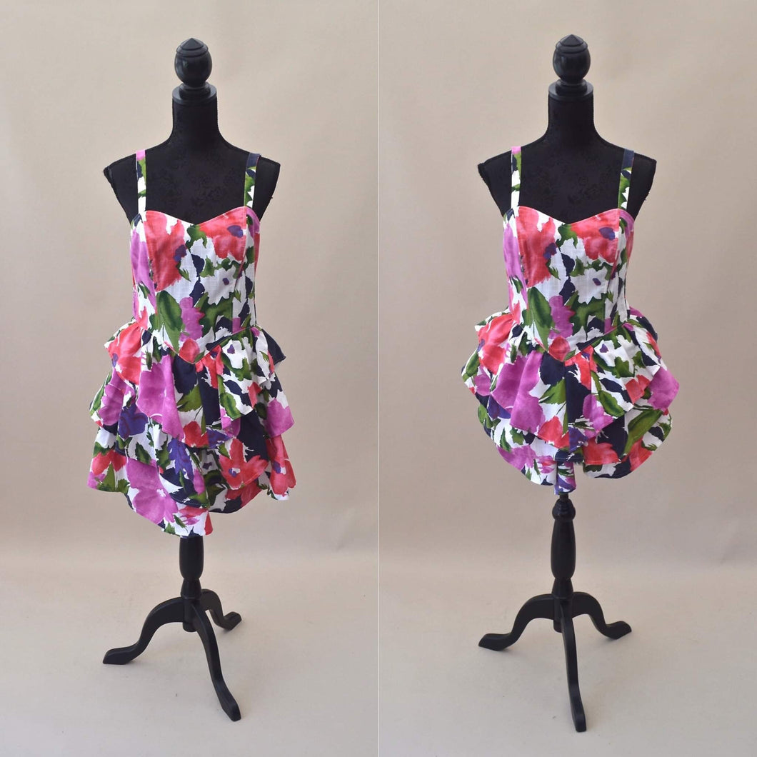 1980s Floral dress | Adjustable dress | Bright midi dress | Est UK size 8