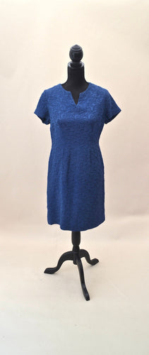 1940s 1950s Vintage wiggle dress | Blue short sleeve dress | Est UK size 12/14