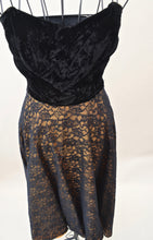 1950s Lace and velvet strapless dress | Black and gold evening dress | Est UK size 4/6