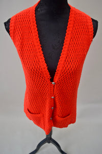 1970s crocheted red cardigan |  Waistcoat with pockets | Est UK size 12/14