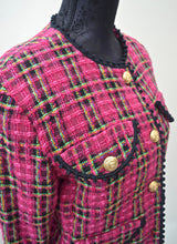 1990s Pink Channel style jacket | Checked blazer | Long sleeve jacket | Est UK size 10/12