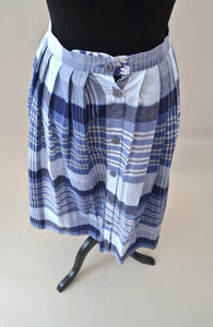 1970s Blue checked skirt | Midi skirt | A line skirt | Est UK size 12/14