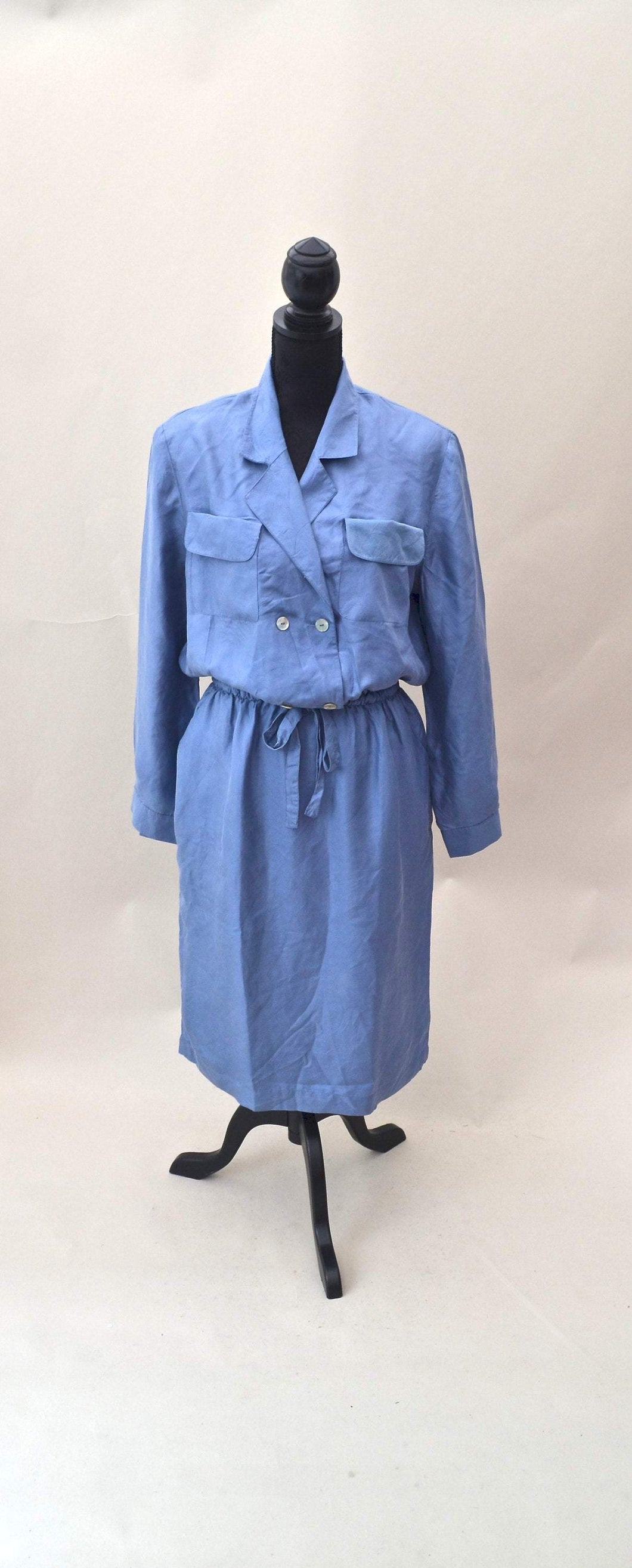 1980s Blue casual day dress with POCKETS  and long sleeves, Est UK size 14