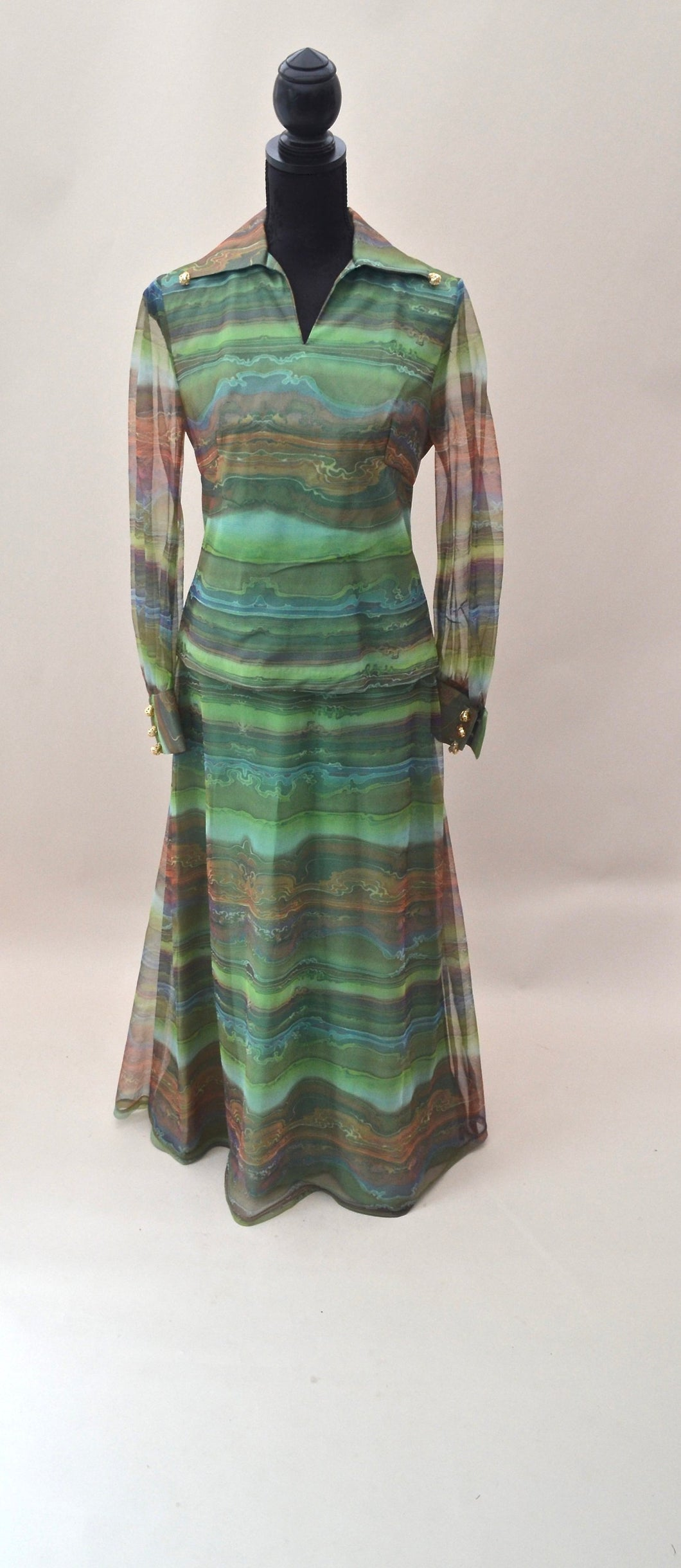 1970s Two piece jacket & skirt in greens and browns, Est UK size 8
