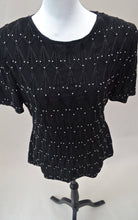 1980s Black sequinned top | Beaded evening wear | Est UK size 12