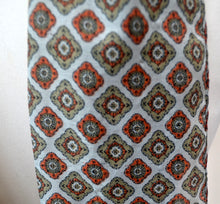 1970s Mens mod scarf | Brown and orange pattern scarf, cravat