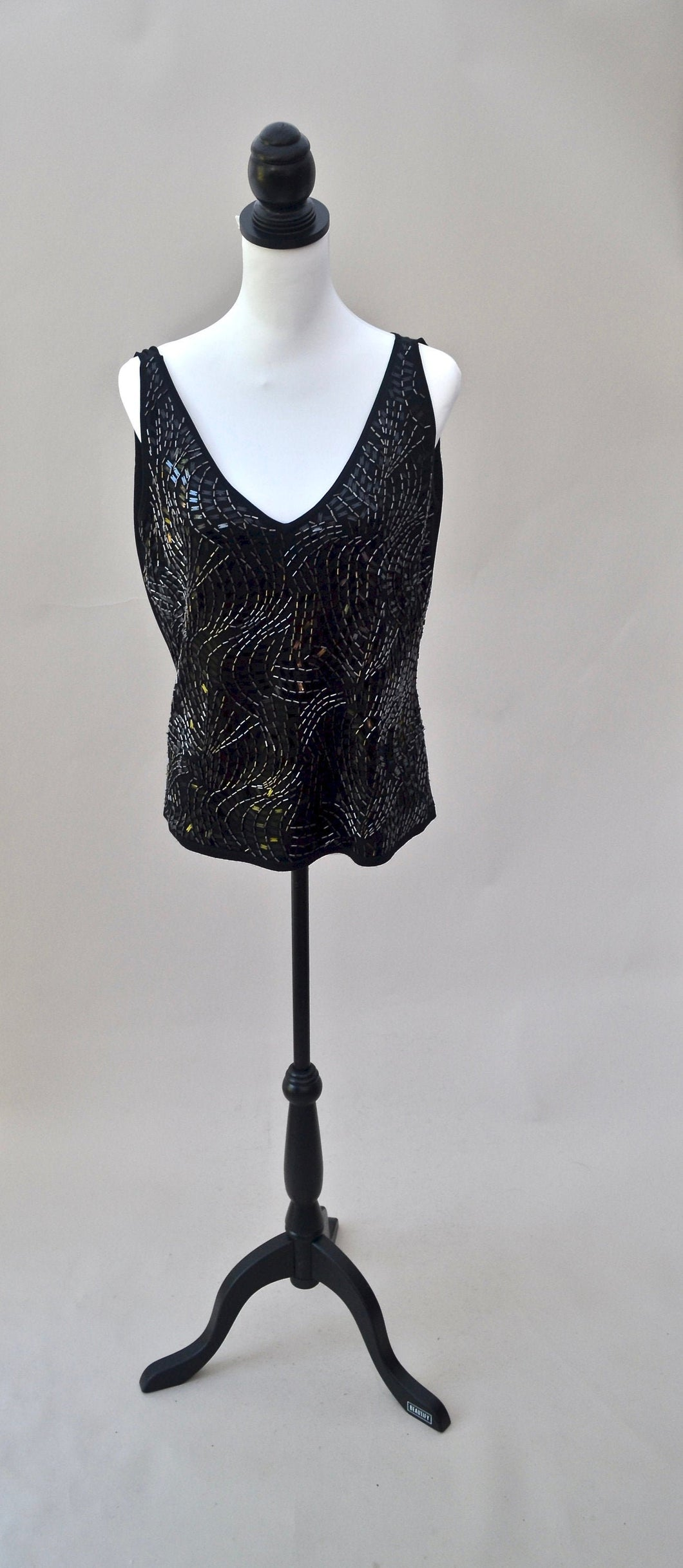 1990s Beaded black top | Plunge V neck vest top | Est UK size 14