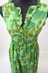1960s Green floral maxi dress with frills | Long vintage dress  | Est UK size 8