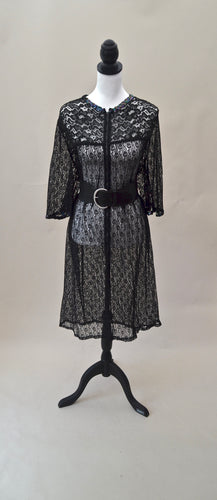 1960s Black lace style house coat | Oversized festival jacket | Est UK size 12/14