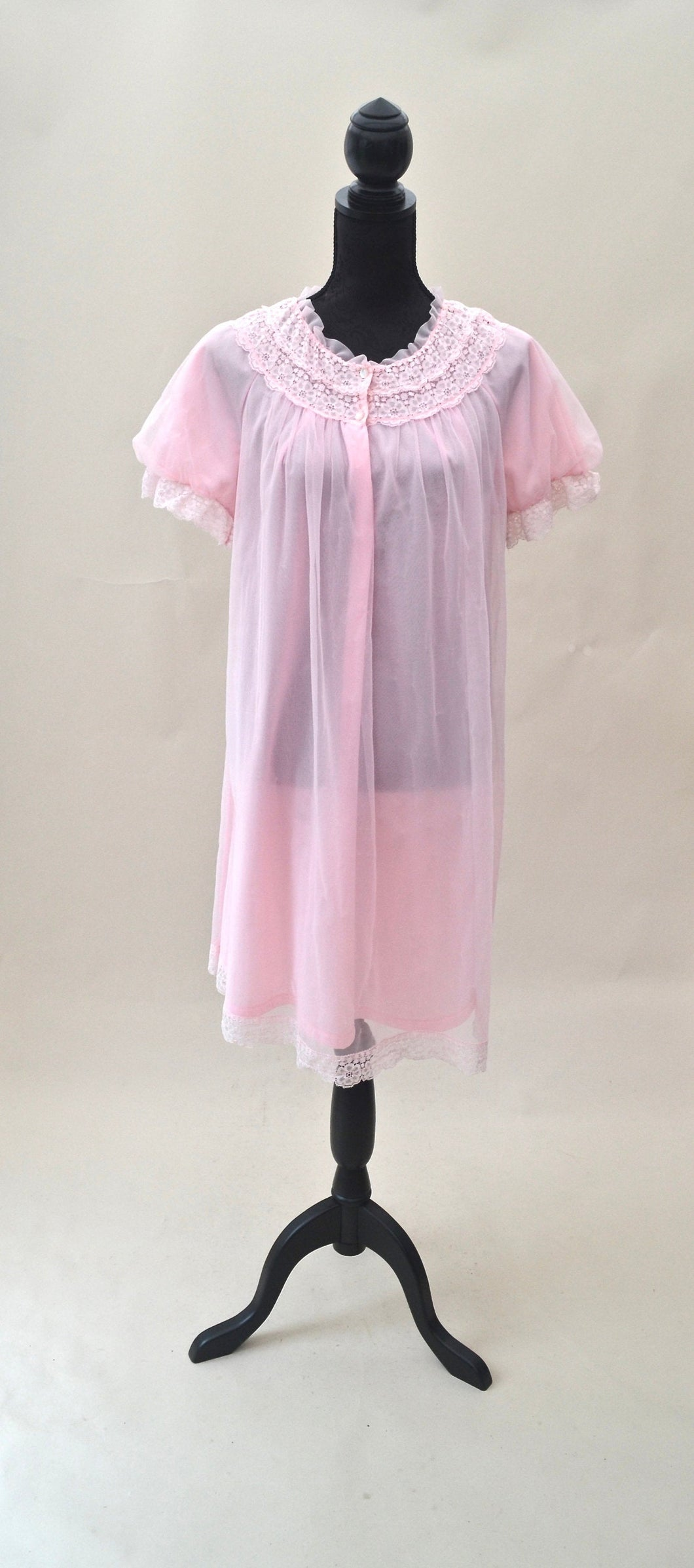 1970s Pink multi layered night dress | Frilly midi nightie | Est UK size 12/14