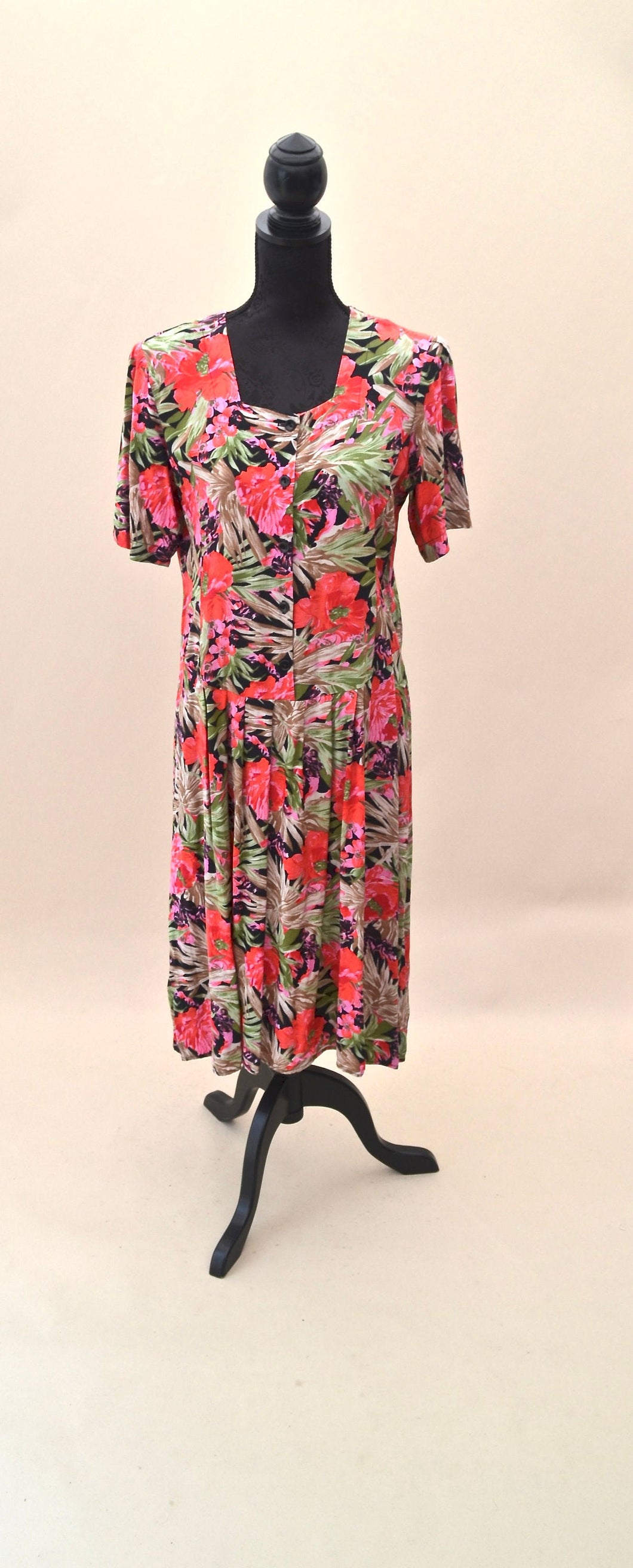 1980s floral dress | Short sleeve dress | Drop waist dress | Est UK size 14