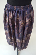 1980s Mid length skirt with peacock pattern, Est UK size 12
