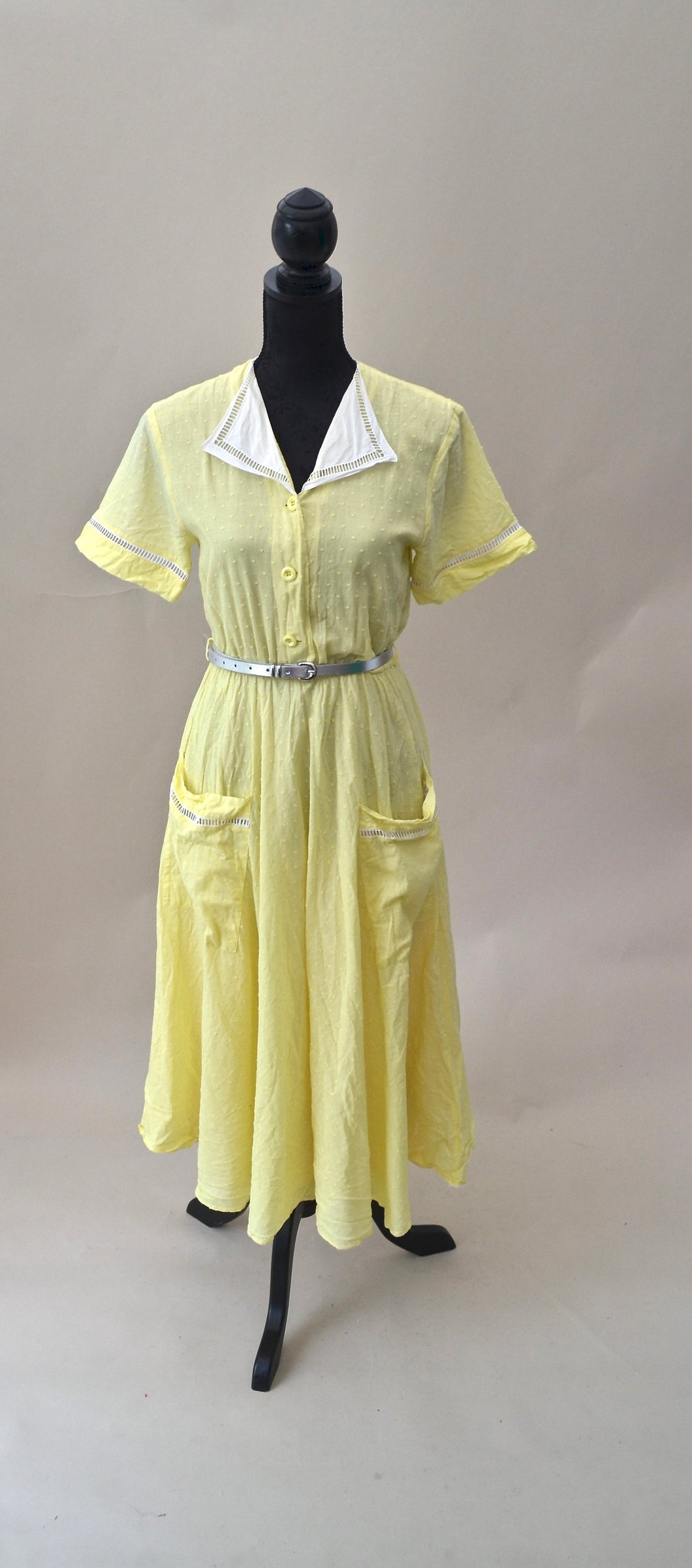 1980s Yellow and white dress| Dress with pockets | Casual day dress | Est UK size 8/10