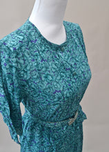 1980s Green and blue floral dress | Dress with peplum and belt | Est UK size 8/10